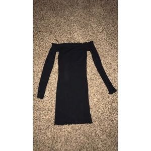 SCALLOPED OFF THE SHOULDER MINI DRESS! (BLACK)